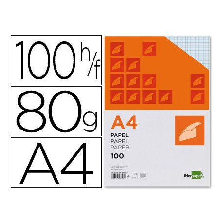 Papel de escritura A4 Liderpapel 80 g/m2 CUADRICULA 4 MM