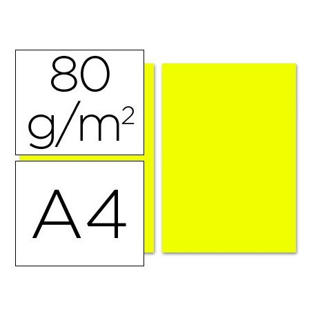 Papel color Liderpapel color limon A4 80g/m2 100 hojas