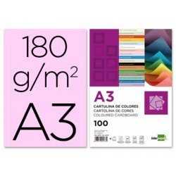 Cartulina Liderpapel color rosa a3 180 g/m2