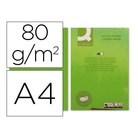 Papel color Q-connect color verde intenso A4 80g/m2
