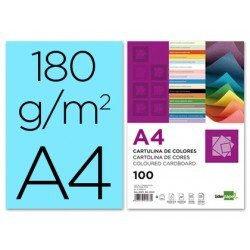 Cartulina Liderpapel color celeste a4 180 g/m2