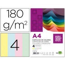 Cartulina marca Liderpapel 4 colores surtidos a4 180 g/m2