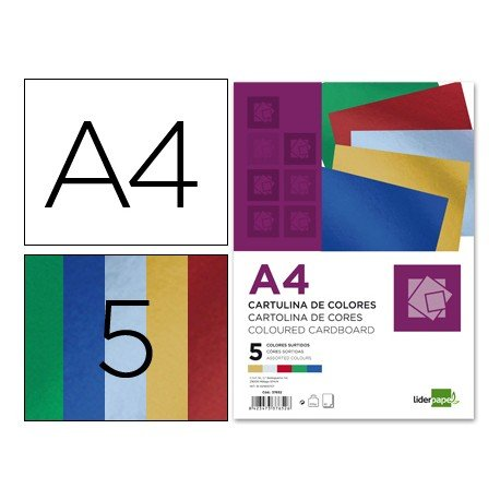 Cartulina metalizada marca Liderpapel 5 colores surtidos a4 235 g/m2