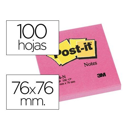 Bloc quita y pon Post-it ® fucsia 76 x 76 mm