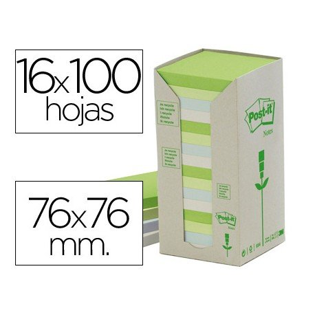 Bloc quita y pon recicladas Linea Verde Post-it ®