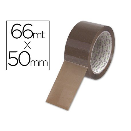 Cinta adhesiva polipropileno marca Q-Connect para embalaje 66 mt x 50 mm
