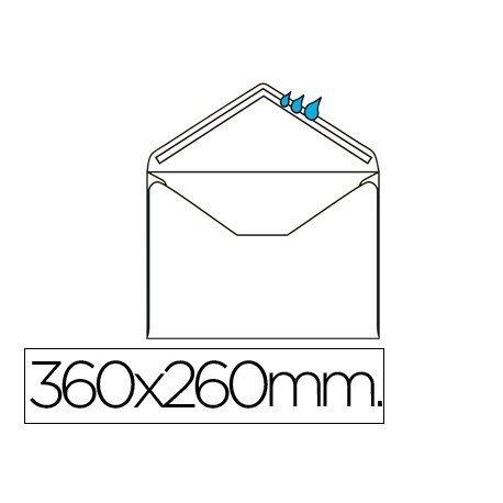 Sobre N.16 Liderpapel,blanco folio especial 260x360mm engomado caja de 250 unidades solapa de pico.