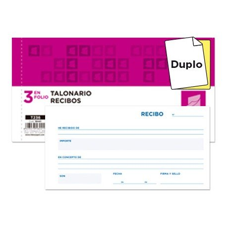 Talonario Recibos 3 en folio Liderpapel