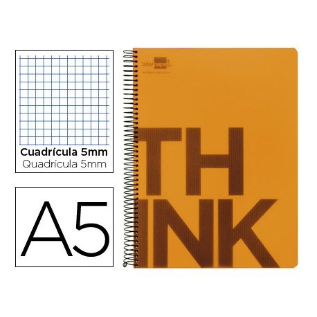 Bloc Din A5 Liderpapel serie Think cuadricula de 5 mm naranja