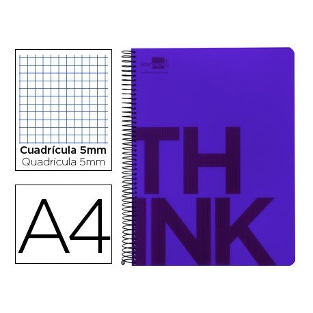 Bloc Din A4 Liderpapel serie Think cuadricula de 5 mm violeta