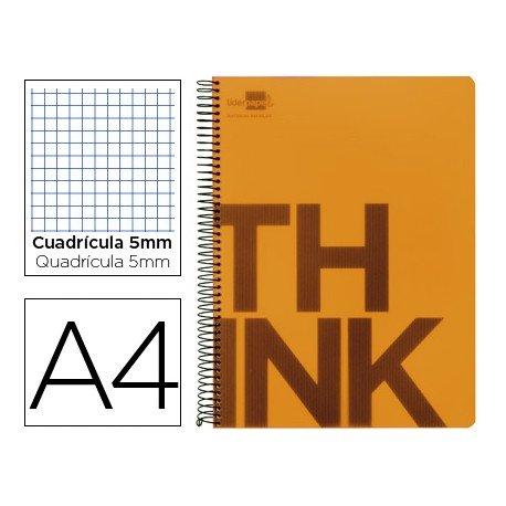 Bloc Din A4 Liderpapel serie Think cuadricula de 5 mm naranja
