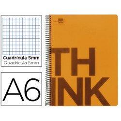 Bloc Din A6 Liderpapel serie Think cuadricula de 5 mm naranja