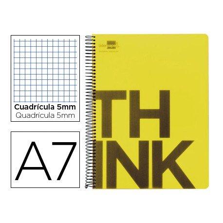 Bloc Din A7 Liderpapel serie Think cuadricula de 5 mm amarillo