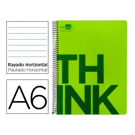 Bloc Din A6 Liderpapel serie Think rayado horizontal verde