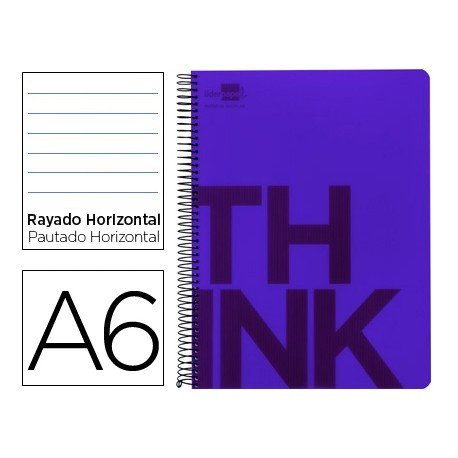 Bloc Din A6 Liderpapel serie Think rayado horizontal violeta