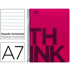 Bloc Din A7 Liderpapel serie Think rayado horizontal rojo