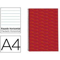 Bloc Din A4 espiral Microperforado Tapa forrada rayado Liderpapel rojo
