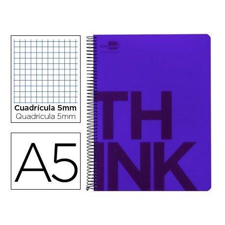 Bloc Din A5 Liderpapel serie Think cuadricula de 5 mm violeta