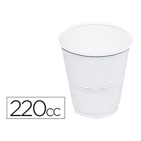 Vaso de plástico blanco 220 cc 100 uds