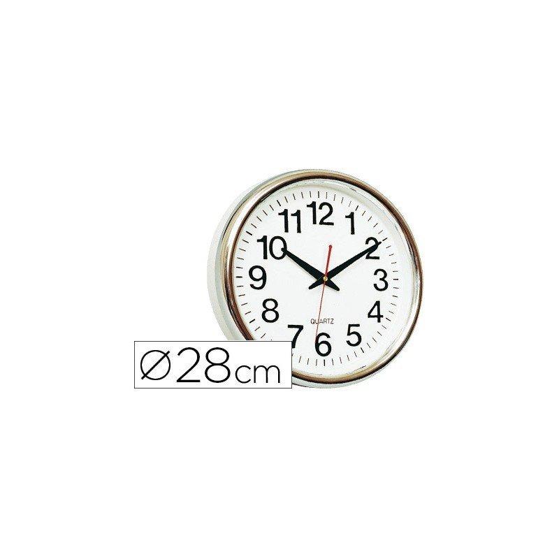 Reloj de pared plastico 30 cm marco color dorado (22366)