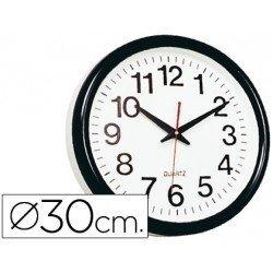 Reloj pared plastico 30 cm marco color negro