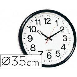 Reloj de pared plastico 38 cm marco color negro