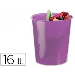 Papelera plástico Q-Connect violeta transparente de 16 litros