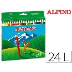 Lapices de Colores Alpino Hexagonales Caja 24 lapices largos