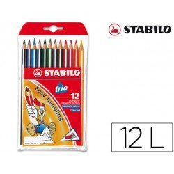 Lapices de colores Stabilo triangulares 12 unidades