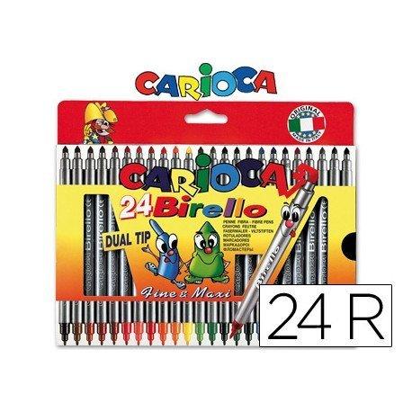 Rotulador Carioca Birello Duo grueso y fino caja 24 rotuladores