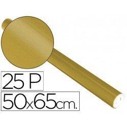 Papel metalizado Sadipal rollo 25 pliegos oro 65g/m2 medidas 50x16,25 m