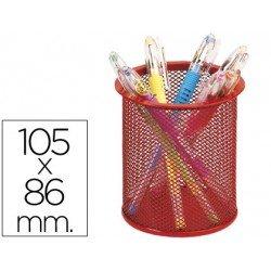 Cubilete portalapices marca Q-Connect rojo rejilla