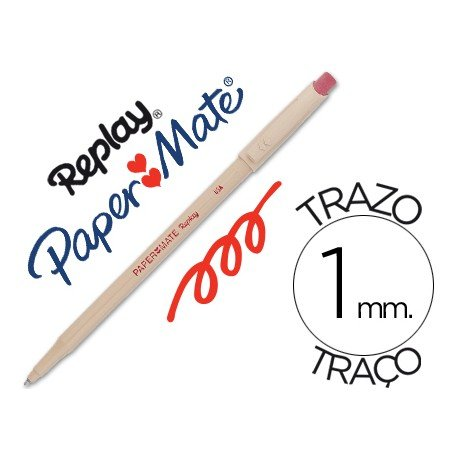 Boligrafo Borrable Paper mate Replay III con goma incorporada color rojo 1 mm