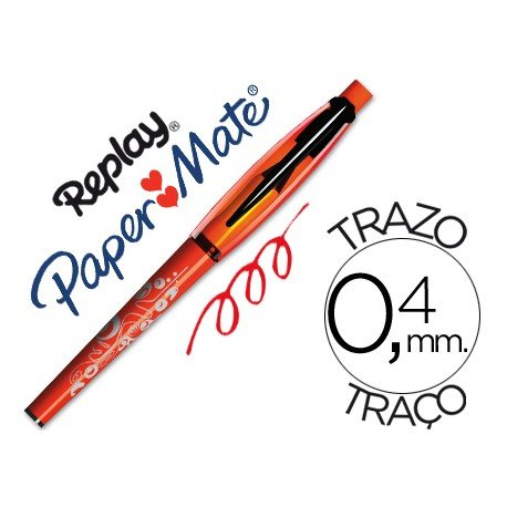Boligrafo Borrable Replay Max Papermate 0,4 mm color rojo