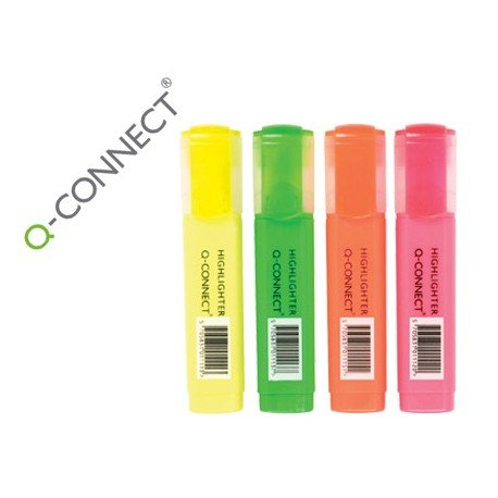 Rotuladores fluorescentes Q-Connect Bolsa 4 colores