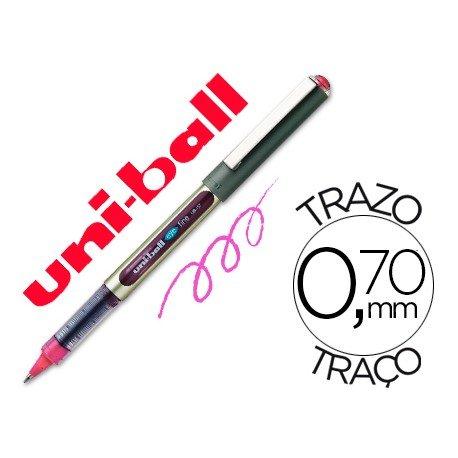 Rotulador-bolígrafo roller Uni-Ball rosa UB-157 0,5 mm.
