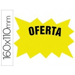 Etiqueta marcaprecios Oferta cartulina amarilla (160 x 110 mm)