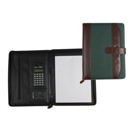 Portadocumentos Carpeta Csp Marron/Verde Din A4 con calculadora