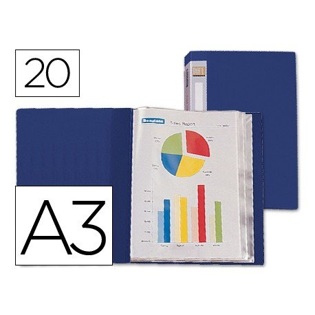Carpeta escaparate con 20 fundas fijas Beautone azul din A3