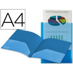 Carpeta dossier con doble bolsa Liderpapel Din A4 color azul