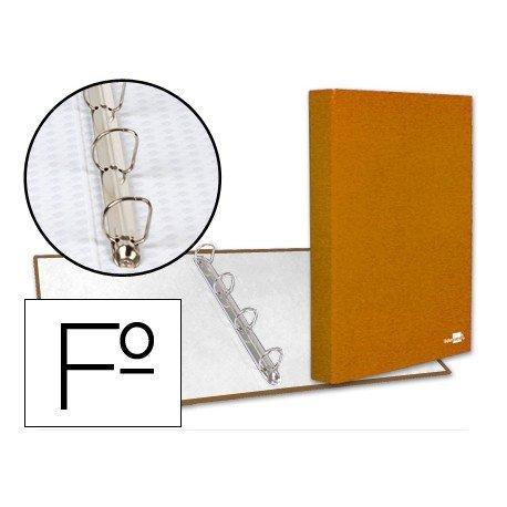 Carpeta carton forrado 4 anillas Liderpapel Paper Coat lomo 40 mm folio naranja