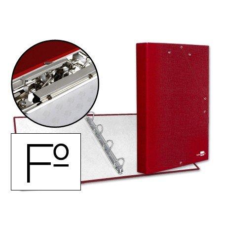 Carpeta 4 anillas gomas carton forrado Liderpapel Paper Coat lomo 40 mm rojo
