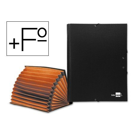 Carpeta clasificadora carton Paper Coat Liderpapel Folio negro