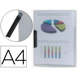 Carpeta dossier con pinza giratoria lateral Liderpapel Din A4 color transparente