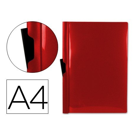 Carpeta dossier con pinza lateral Beautone Din A4 color rojo