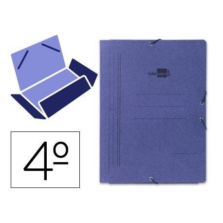 Carpetas gomas carton Liderpapel cuarto azul