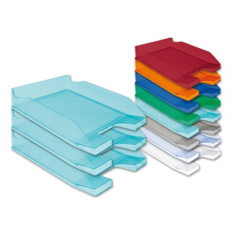 Bandejas sobremesa plastico Q-Connect color turquesa transparente