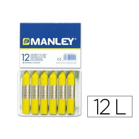 Lapices cera blanda Manley caja 12 unidades amarillo limon
