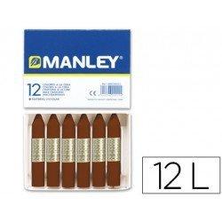 Lapices cera blanda Manley caja 12 unidades pardo