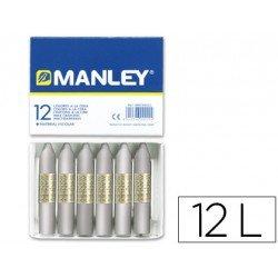 Lapices cera blanda Manley caja 12 unidades plata